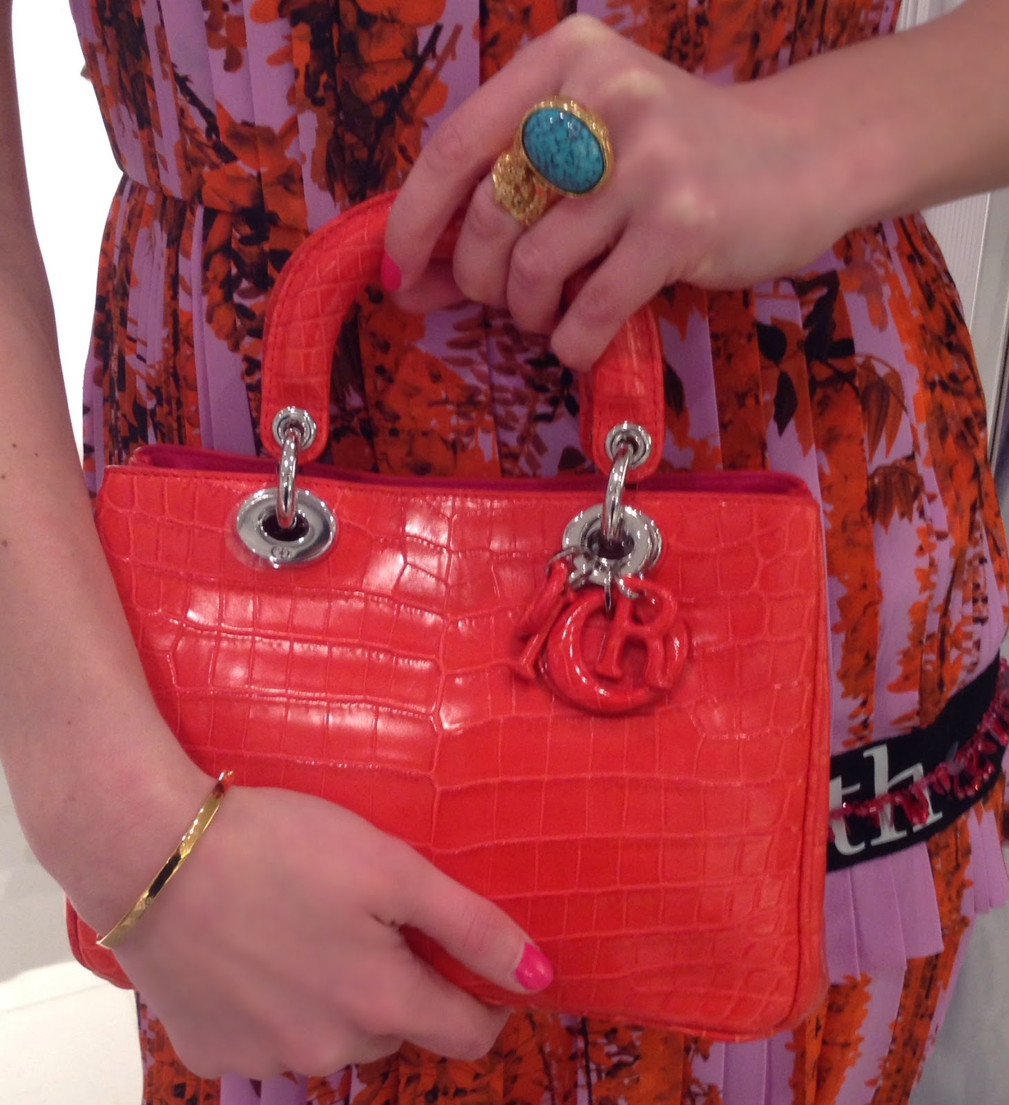 lady dior bag, ysl ring, monica vinader, fiji bracelet, dior dress, dior printed dress