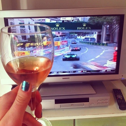 Watching the Monaco Grand Prix with a glass of rosé