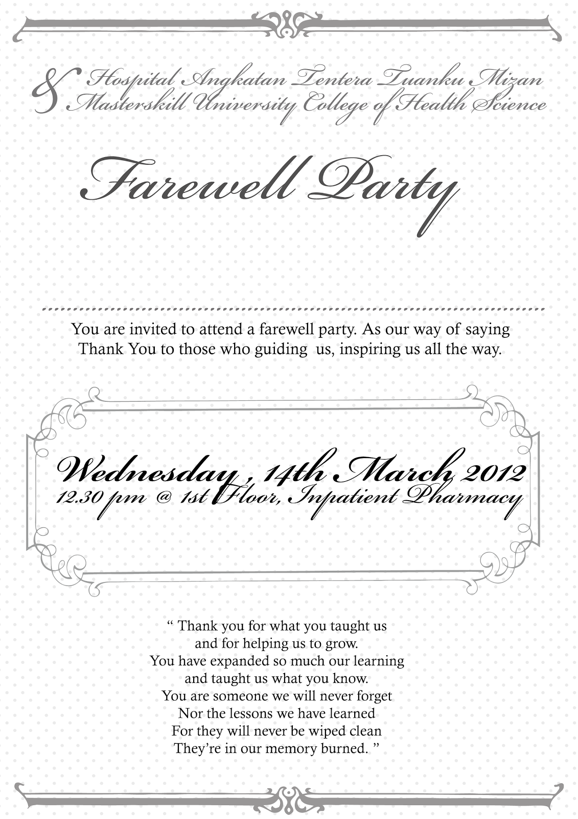 Fare well invitation template fare well party invitation wording stopboris Image collections