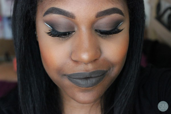 picture of makeup grey lips and white eyeliner