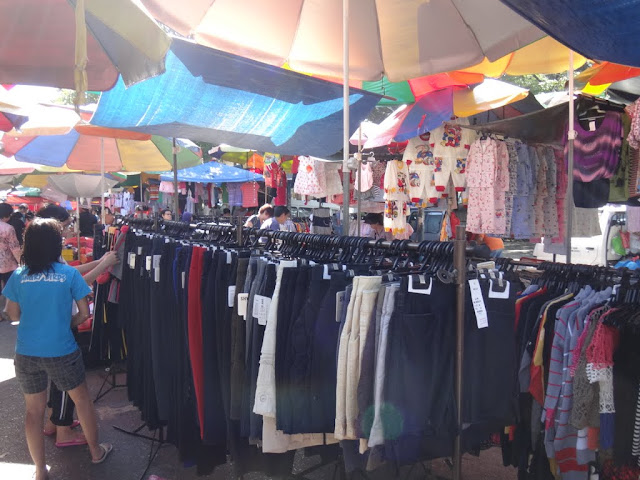 Fashionable clothing from young to adults can be found at the morning market in Malaysia.