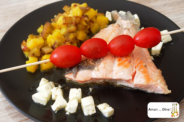 Saumon grillé, mangue et aubergine aux éclats de noisette