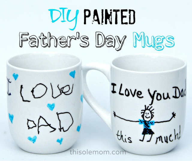 Father's Day Gift Ideas, Father's Day Crafts, Father's Day Painted Mugs, Father's Day Mugs, DecoArt glass paint markers Mug Idea, Father's Day DIY Painted Mug