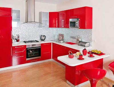 Desain Dapur dengan Warna Merah