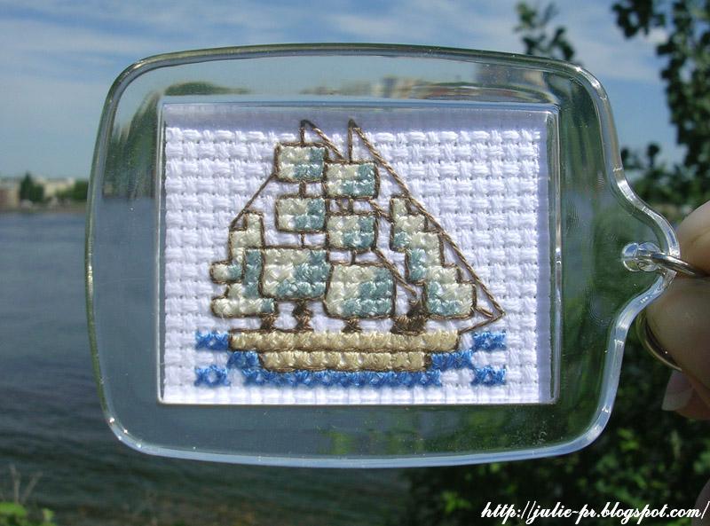 Брелок кораблик вышивка крестом