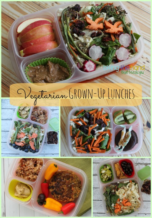 Plant-based #vegetarian grown-up sized lunches in #easylunchboxes