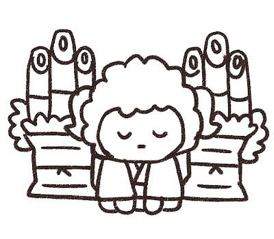 新年の挨拶をしている羊のイラスト(未年) モノクロ線画