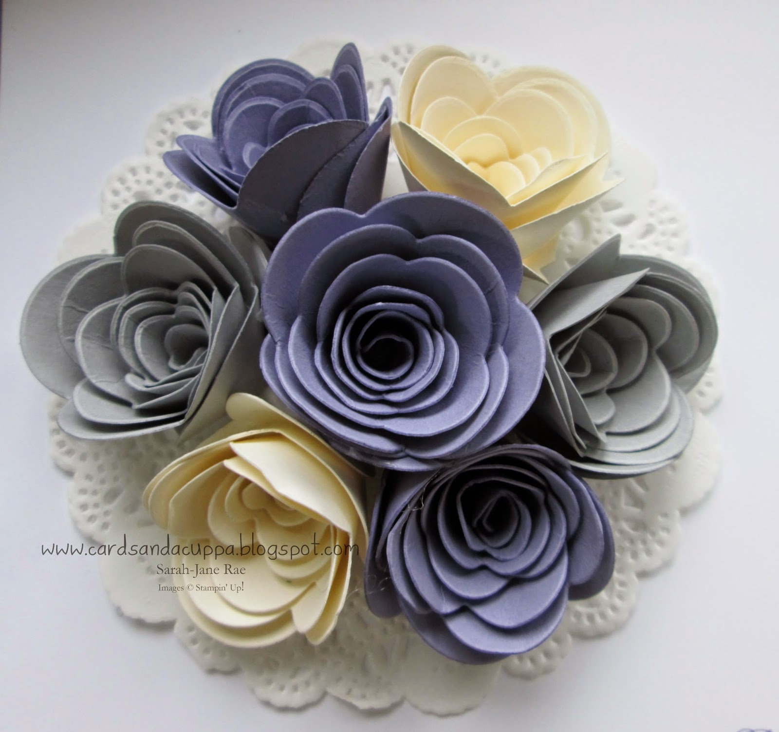 Sarah jane rae cardsandacuppa stampin up uk order online 247 i added vanilla wisteria wonder and smoky slate rolled flowers to a doily izmirmasajfo Images