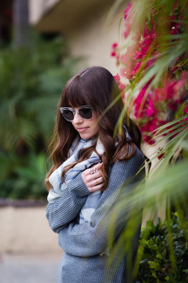 gray everlane sweater and loft striped metallic scarf M Loves M @marmar