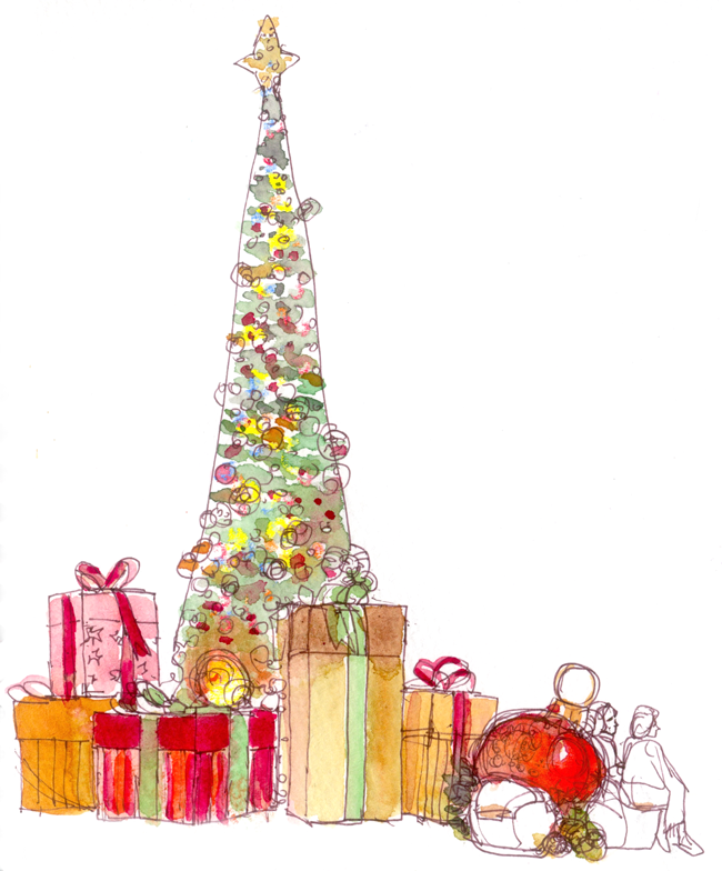 shiho nakaza illustration holiday sketch christmas