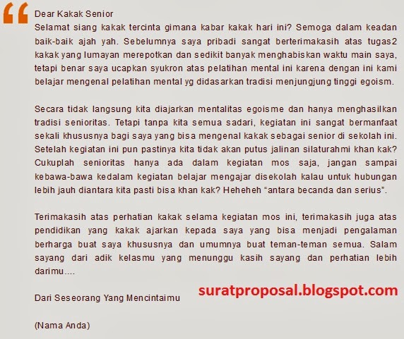Contoh Surat Cinta Kegiatan MOS Atau MPLS 2017   Kumpulan ...