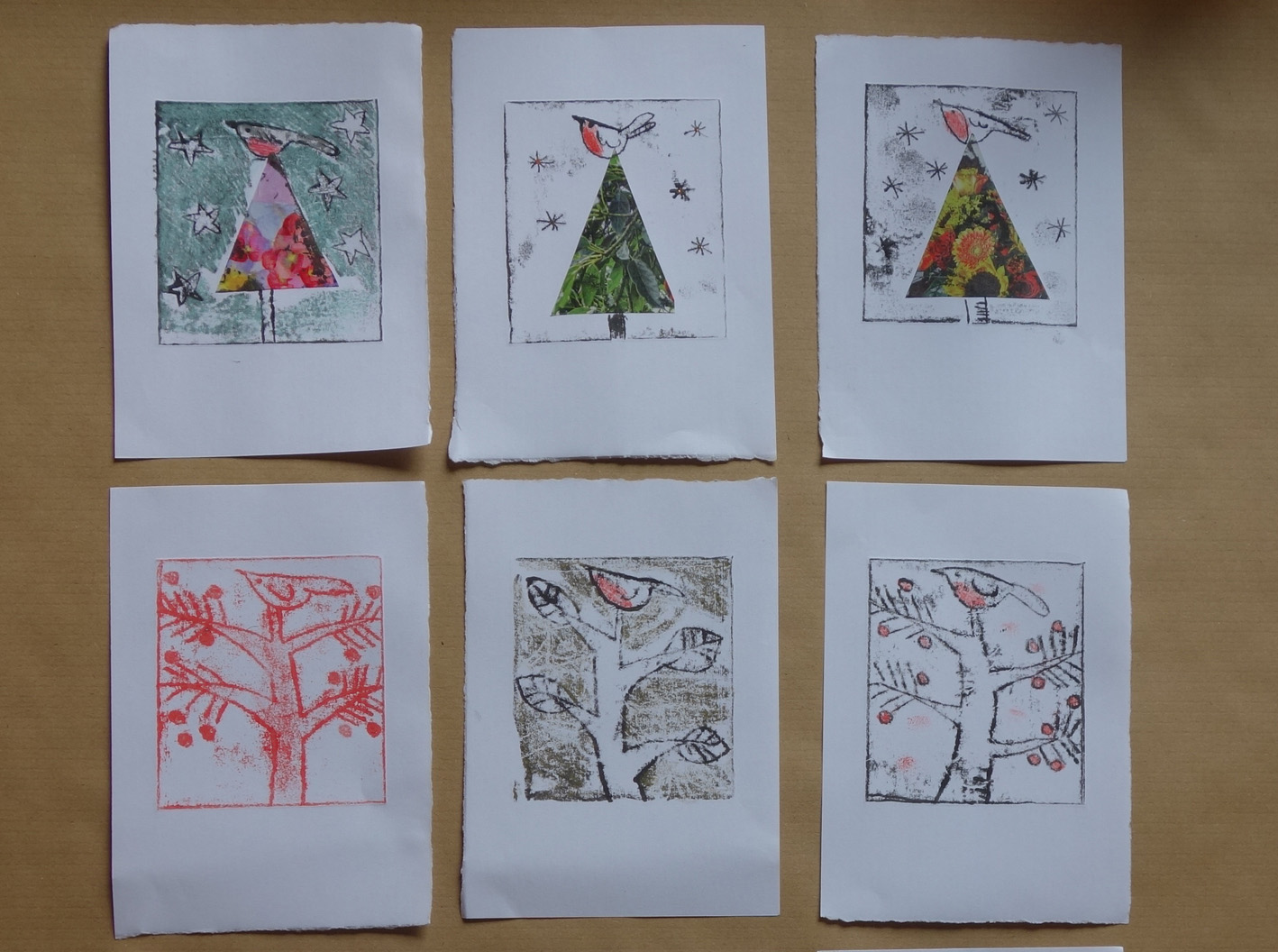 Molebags a marvellous monoprinting evening for Make your own christmas cards ideas