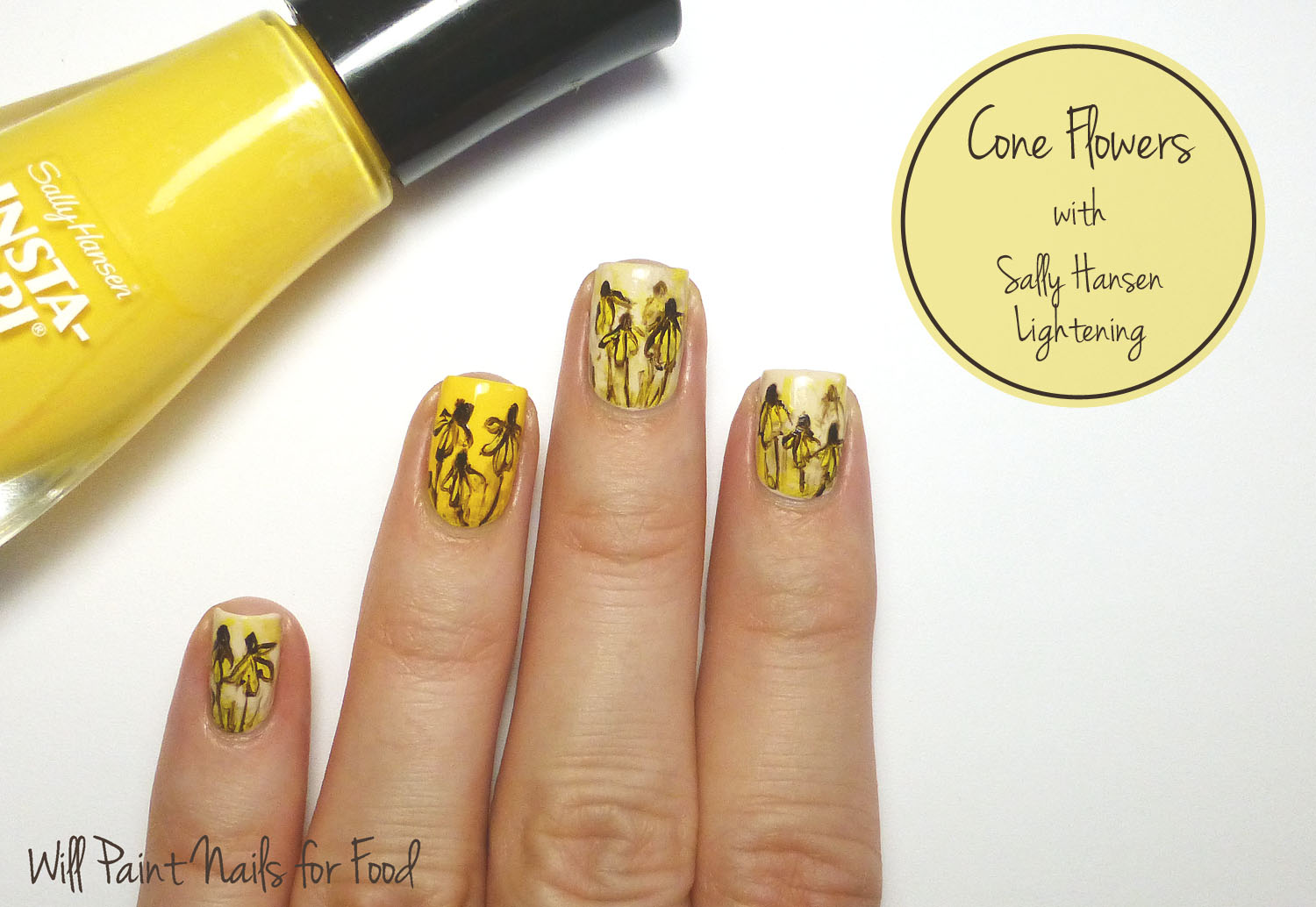 Cone flowers freehand nail art