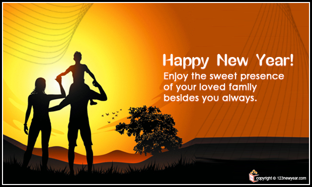 Happy New Year 2014 Family Wishes Greeting Cards