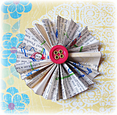 image folded paper flower button accordion upcycled book vintage