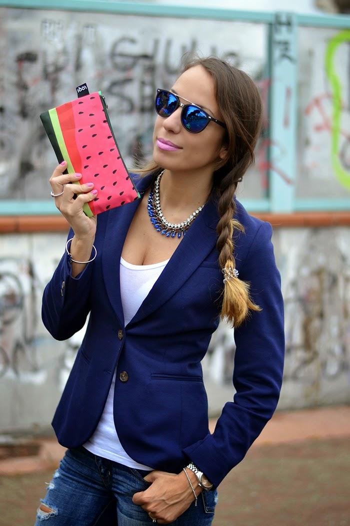 look con blazer blu