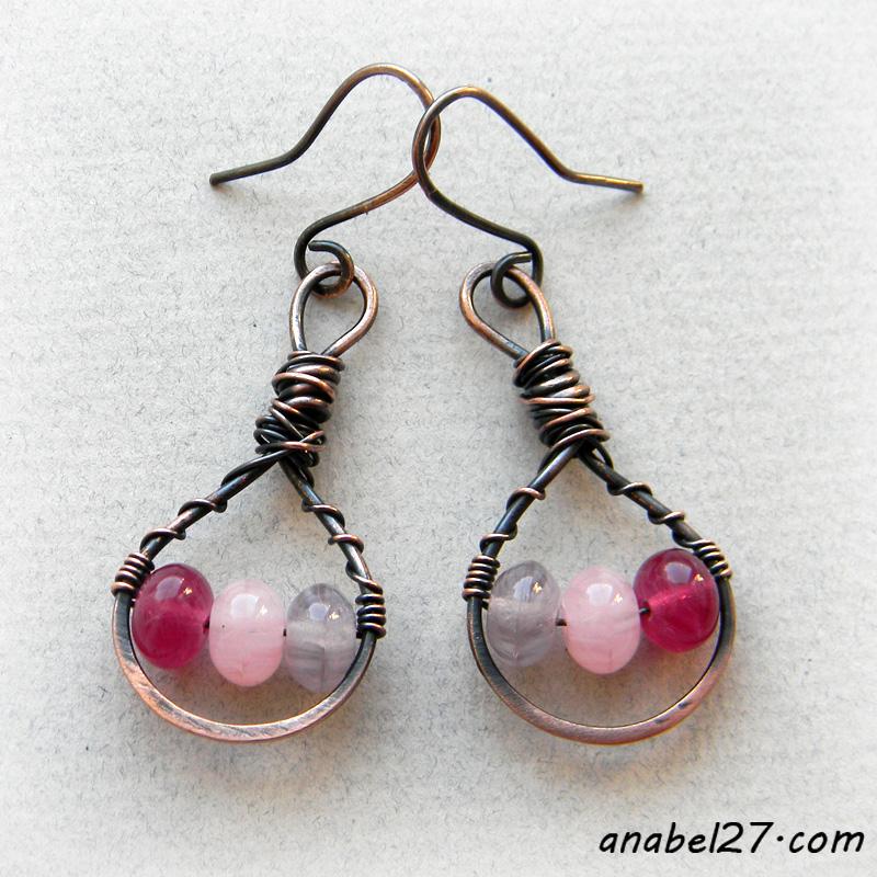 Медные серьги с сиренево-розовыми бусинами - wire wrap - 251 / 365