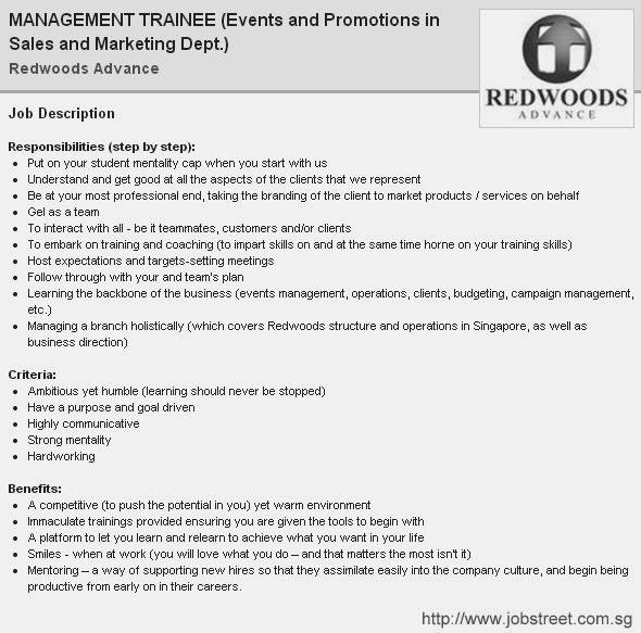 Redwoods Advance Jobs | Management Trainee - Events and Promotions in Sales and Marketing Department