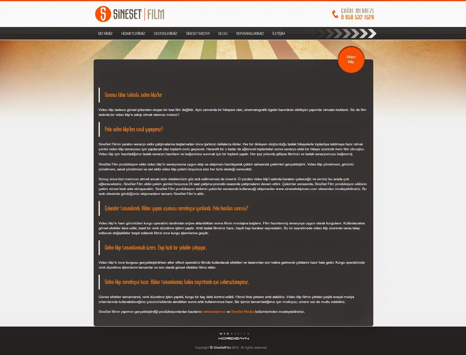 SineSet Film Yapım Responsive Web Design Alt Sayfa