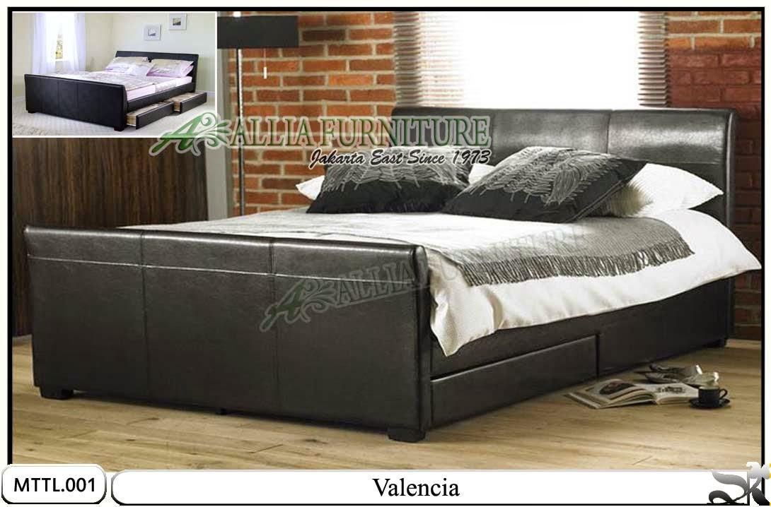 Tempat tidur minimalis laci lapis kulit valencia