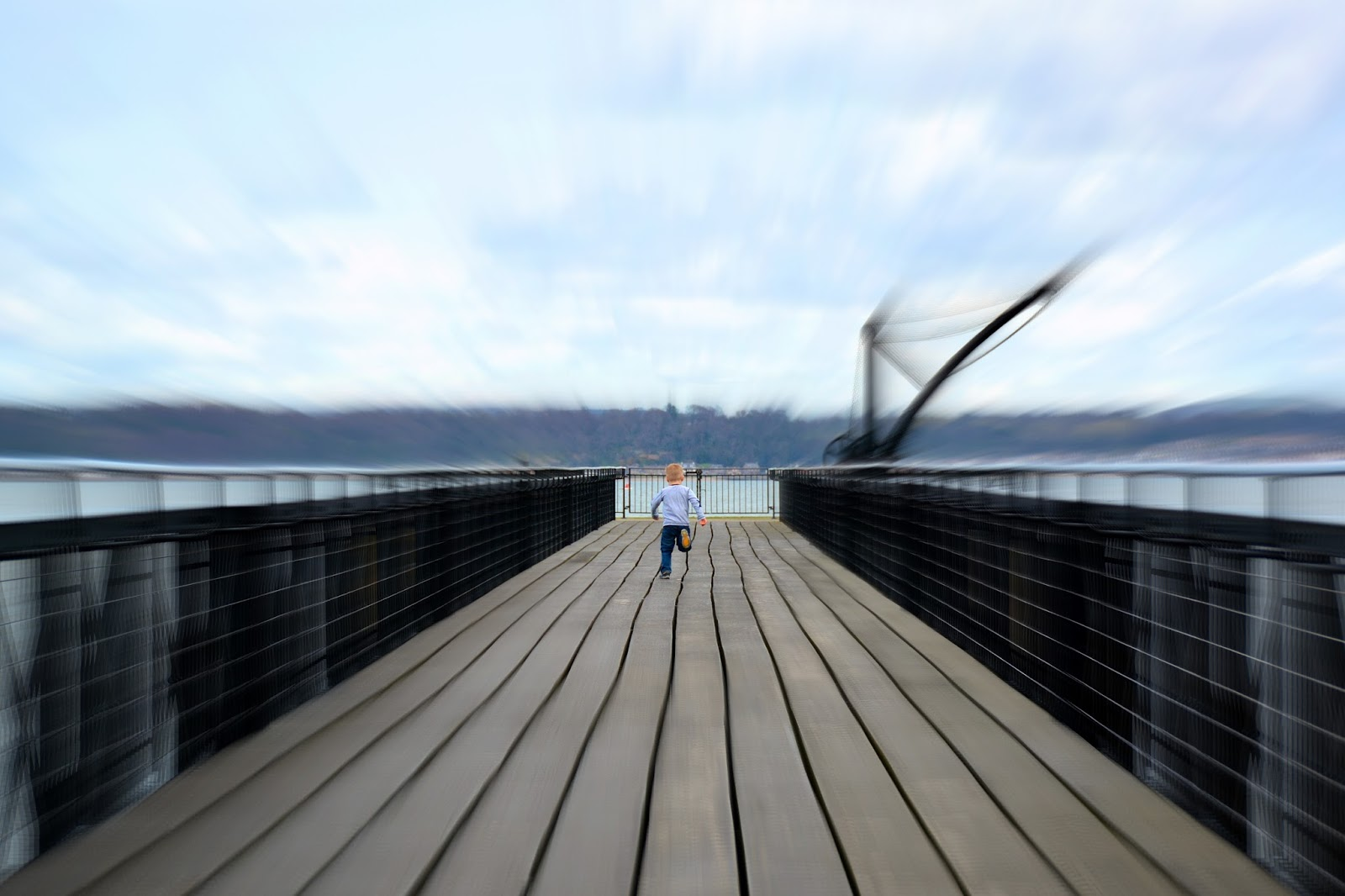 Jackson running down the dock