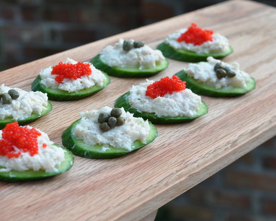 Smoked Whitefish Spread on Cucumber Slices, another easy summer recipe ♥ KitchenParade.com. Low Carb. High Protein. WW1.