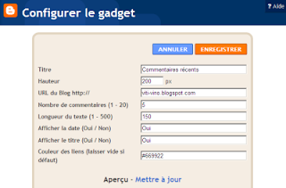 widget commentaires recents