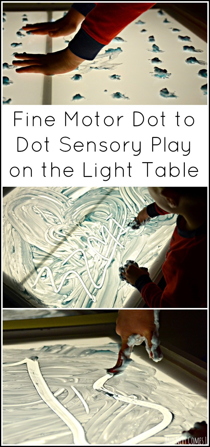 Fine motor dot to dot sensory play on the light table inspired by an activity from the book 99 Fine Motor Ideas for Ages 1 to 5 from And Next Comes L