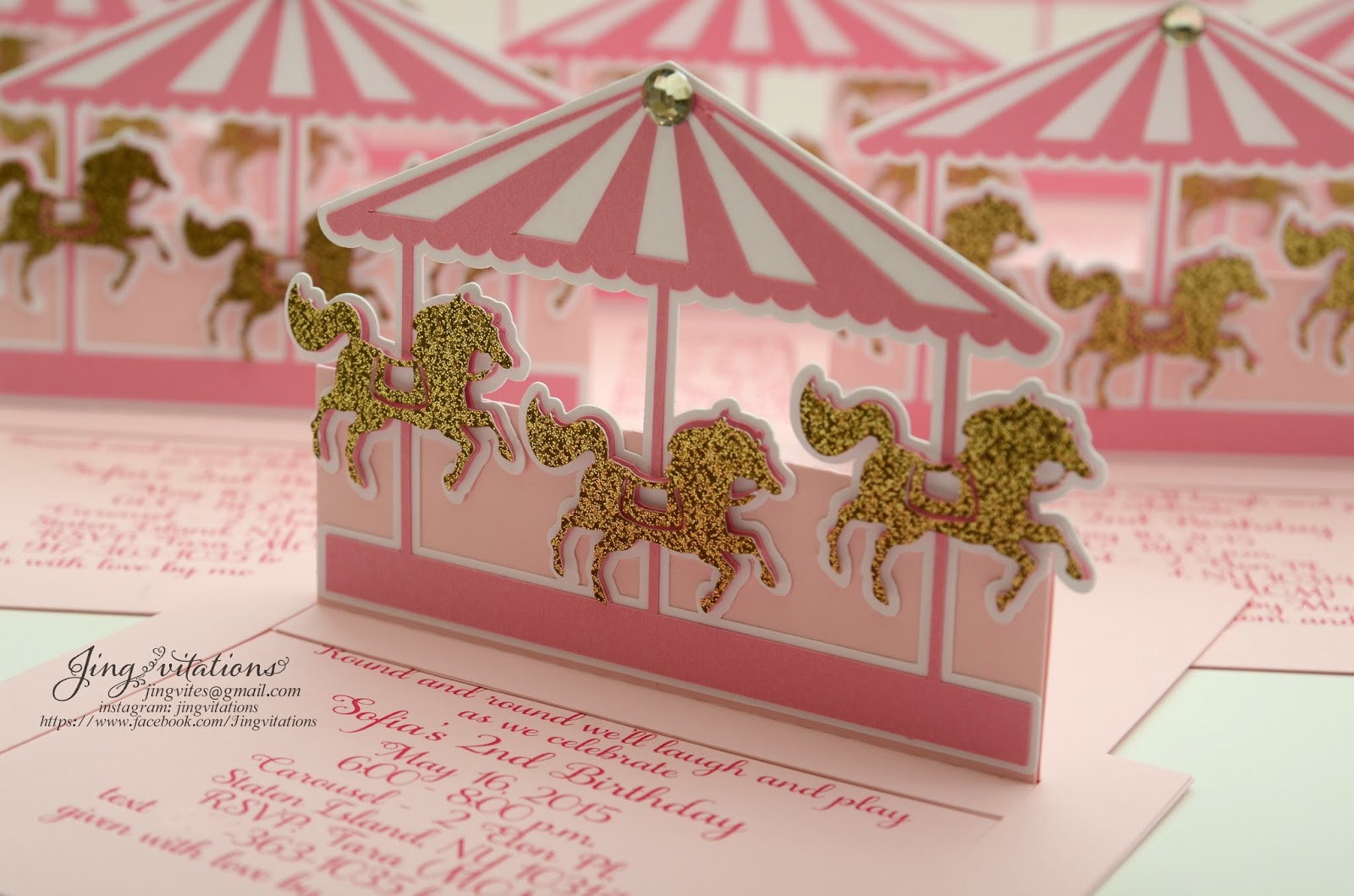 Birthday and Baby Shower Invitations Pink and Gold Carousel