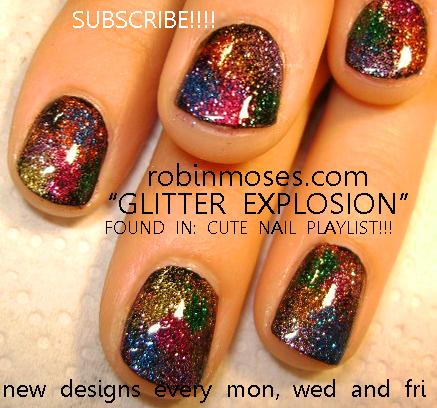 Smiling Strawberry Nail Design Glitter Explosion Nail Art Nails