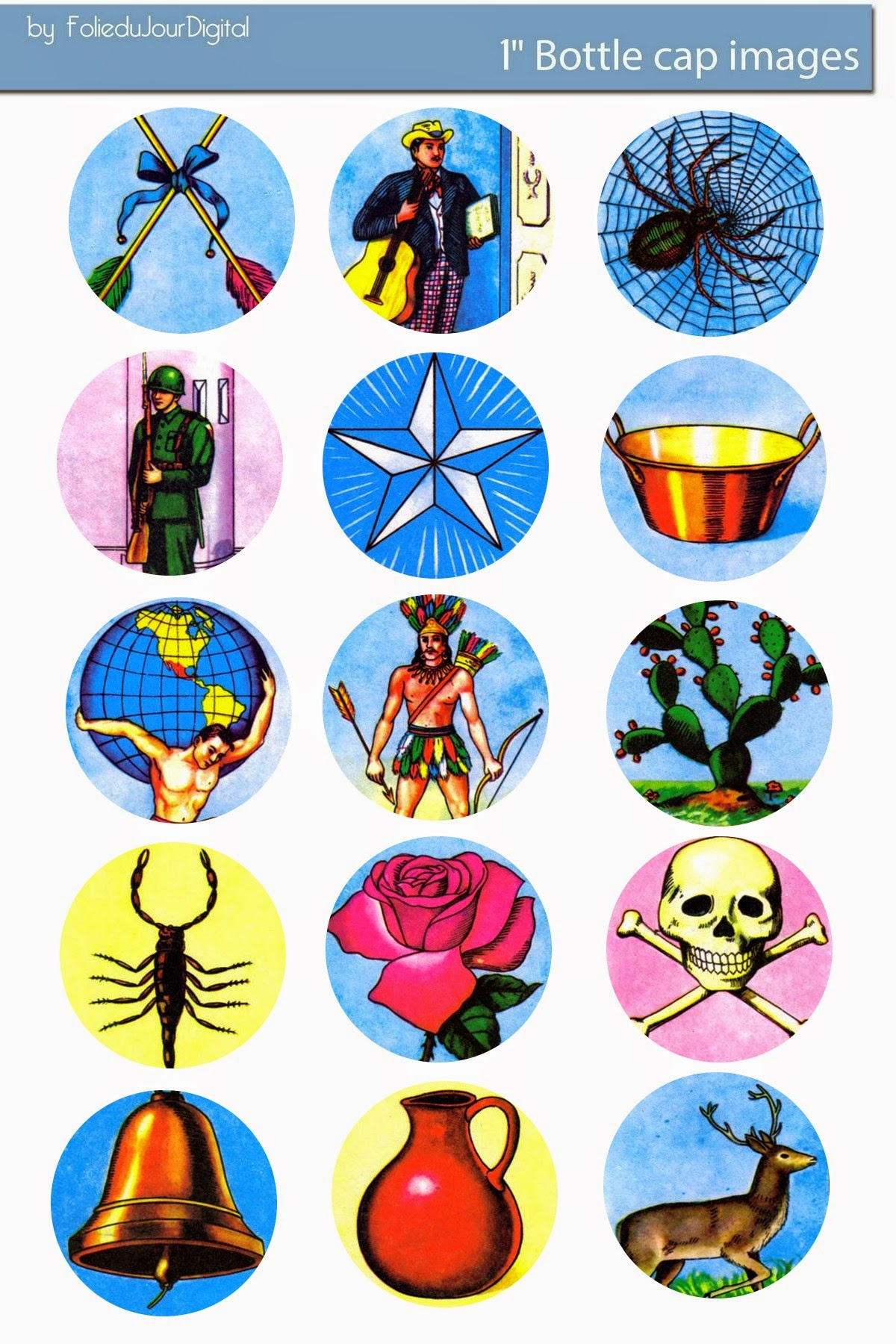 image about Printable Loteria Mexicana named No cost Bottle Cap Illustrations or photos: Mexicana Loteria Bingo Free of charge electronic