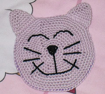 crocheted cat coaster