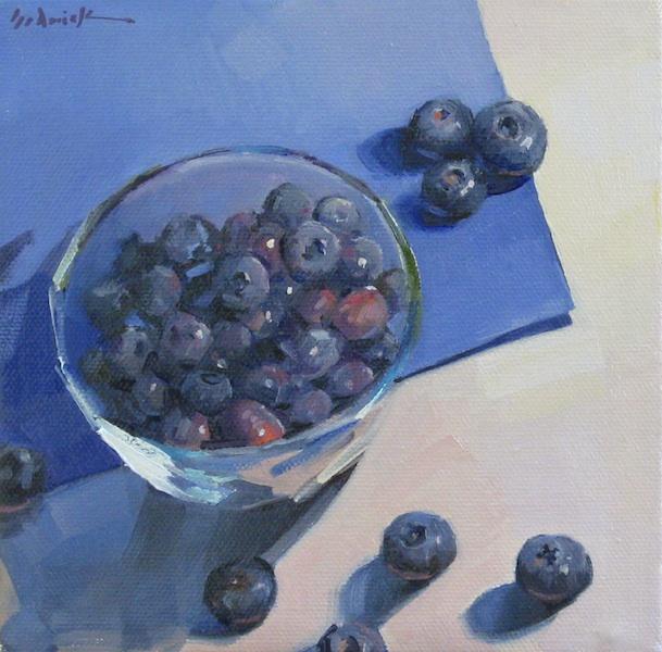 "Sedwick Studio Purple Bowl Of Plums Fruit Bowl Still: Sedwick Studio: ""Blueberries On Blue"" Fruit Still Life"