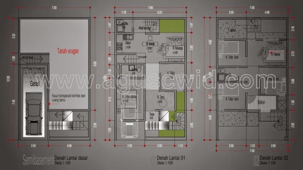 Desain Rumah Minimalis 2 Lantai 7X12