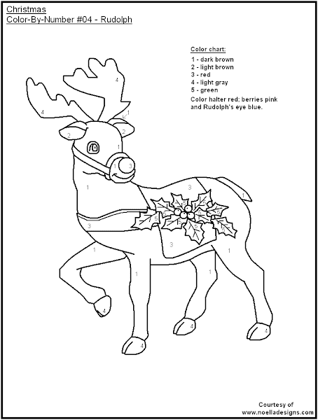 Easy color by number coloring pages for Christmas coloring pages by number