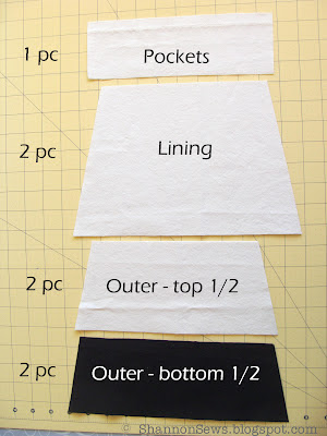 Zipper pouch with two-toned outer fabric, lining and slip pockets
