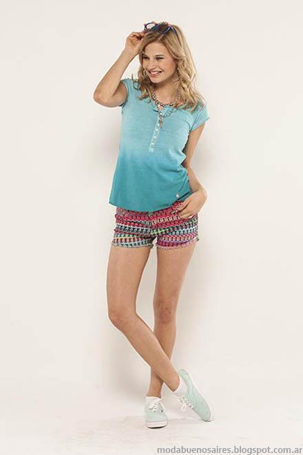 Remeras clores en degrade y shrts estampados tendencia de moda juvenil verano 2015 Doll Fins.