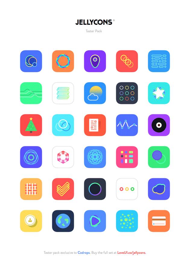 綺麗なiOS8アプリ風アイコンが合計30個
