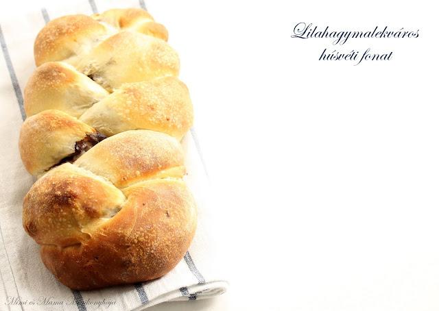 Lilahagymalekváros húsvéti kenyérfonat