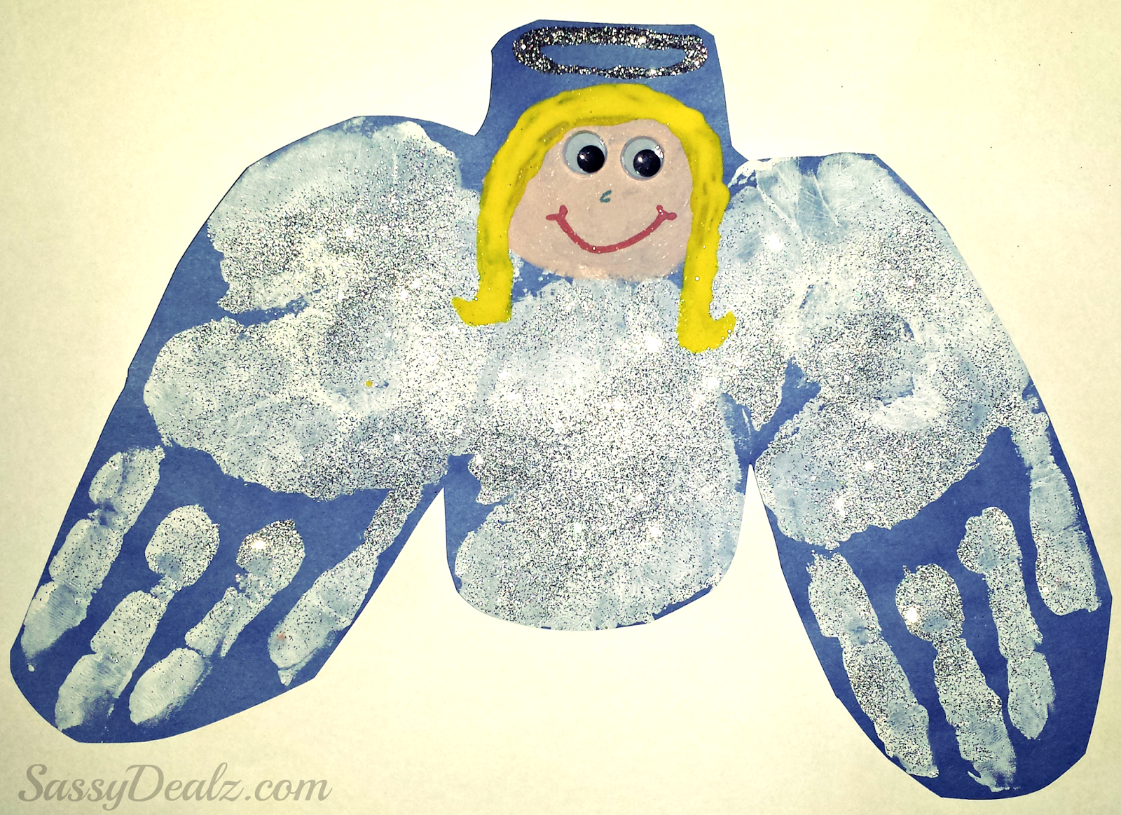 handprint angel craft for kids at christmas