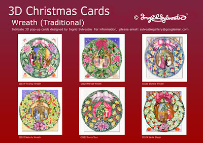 3D pop up Christmas Cards by UK Artist Ingrid Sylvestre 6 Designs Wreath Traditional