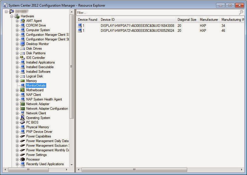 find computer serial number sccm 2012