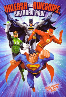 Front of Justice League create a comic birthday card