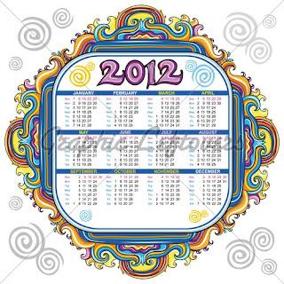 Happy new year calendar 2012 English calendar 2012