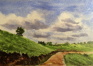 Water colour painting of a landscape from Mandalpatti near Coorg. By Manju Panchal