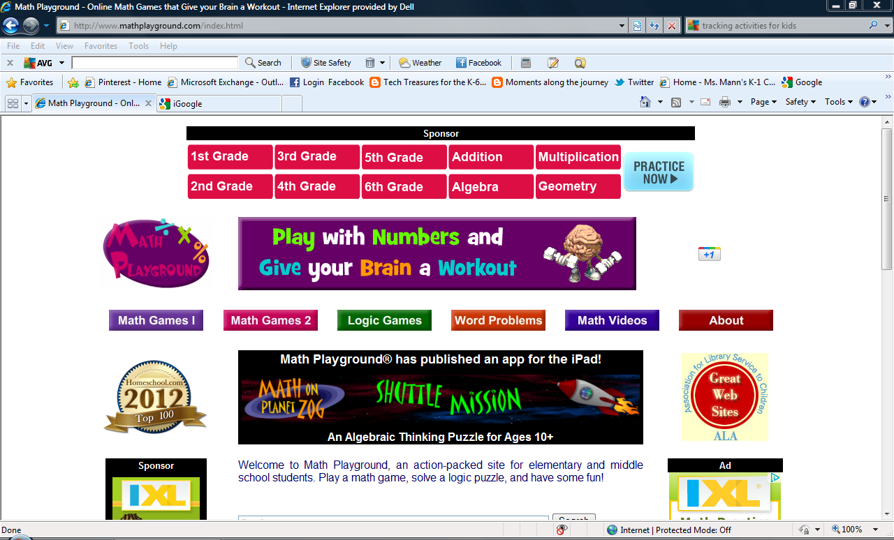 Tech Treasures Math Sites – Math Playground Worksheets