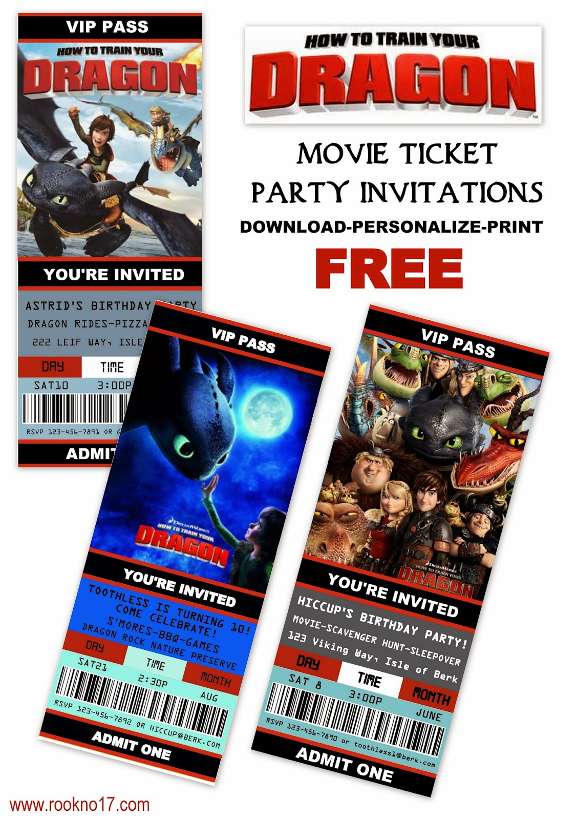 Free Printable Movie Ticket Style Invitations: How To Train Your Dragon  Free Printable Ticket Style Invitations