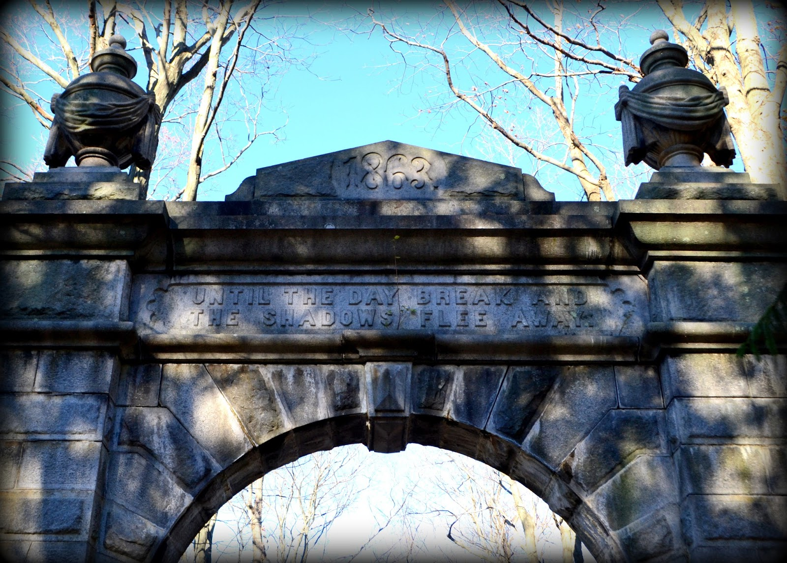 gate, granite, stone, shadows, cemetery, newburyport
