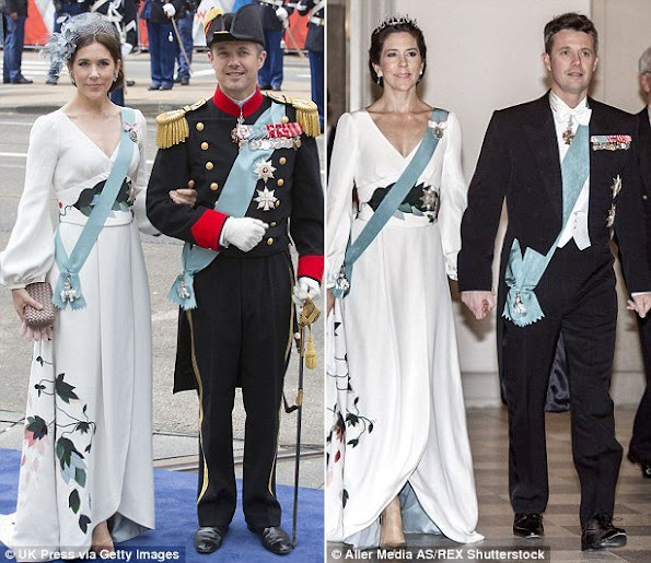 Stylish: Mary wore this long-sleeves white gown in April 2013 (left) and just under a year later in March 2014 (right)