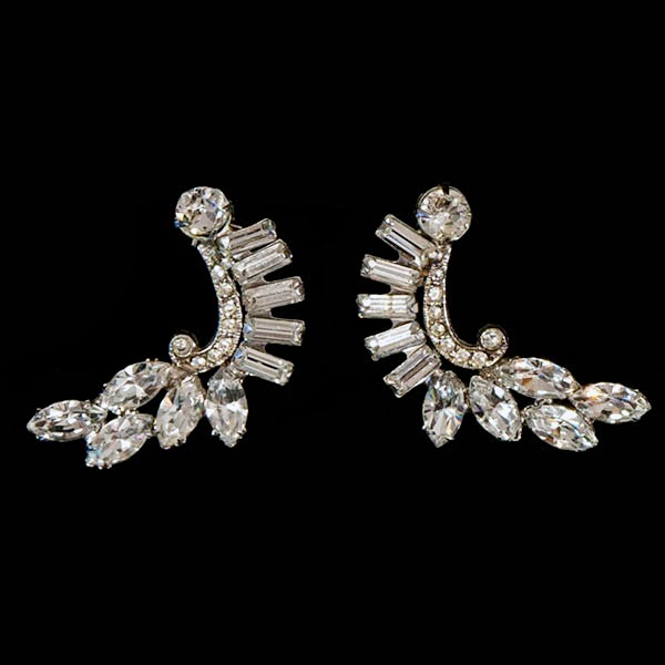 Antique Clear Rhinestone Dress Clips